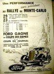 Ford Au rally de Monte-Carlo - Pub papier de 1935